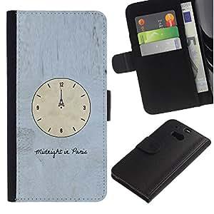 HTC One M8 Modelo colorido cuero carpeta tirón caso cubierta piel Holster Funda protección - Time Clock Paris Eiffel Art Midnight
