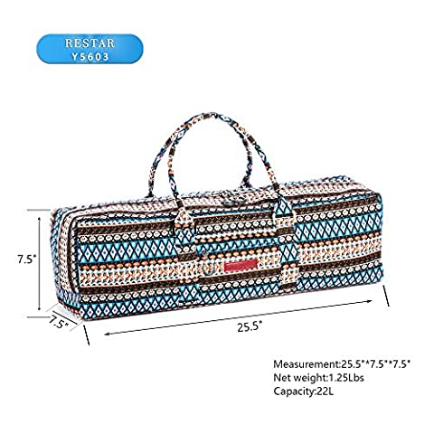 Yoga Mat Bag RESTAR Y5602 Yoga Duffel bag with Ethnic Pattern Canvas and Delrin Zipper (MAT IS NOT INCLUDED) Extra Large Fit Most Mat Size Compartment for Yoga Block Yoga Brick Ethnic Multi - Black Label Duffel