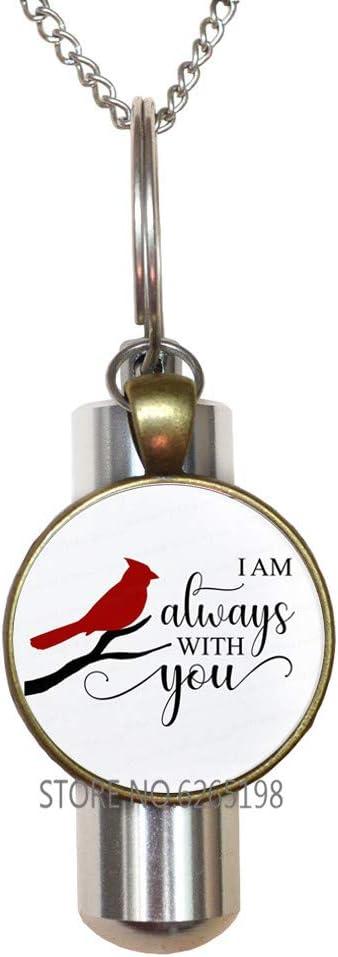 Cardinal URN Cremation URN Necklace - I am Always with You - Cardinal Cremation URN Necklace, Memorial Cremation URN Necklace, Loved Ones Handmade Cremation URN Necklace,N177