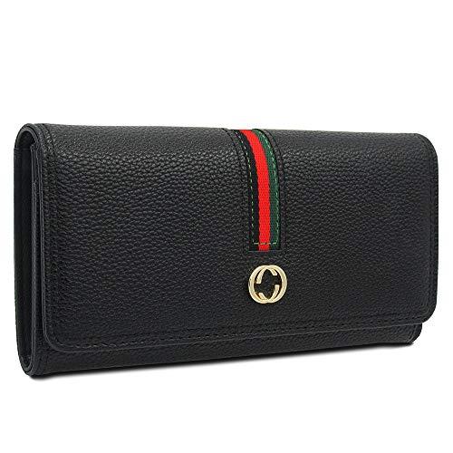 Sinianer Women Designer Leather Wallet Blocking Clutch with Card Holder Purse Zipper (Black)