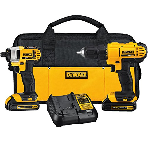 DEWALT DCK240C2 20v Lithium Drill Driver/Impact Combo Kit (1.3Ah) (Dewalt Power Tool Sets)