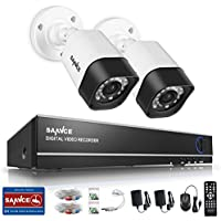 SANNCE 4-Channel HD 1080N Video Security System DVR and (2) 1.0MP Indoor/Outdoor Weatherproof CCTV Cameras with IR Night Vision LEDs- NO HDD