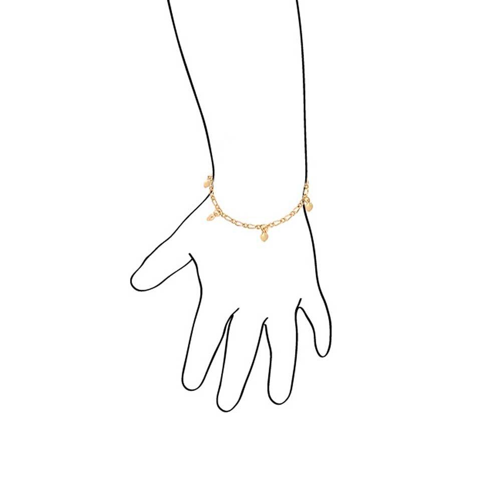 Bling Jewelry Laiton plaqu/é Or 18K Petit Bracelet Coeurs ballants Dainty pour Les Petits Poignets 5 Pouces