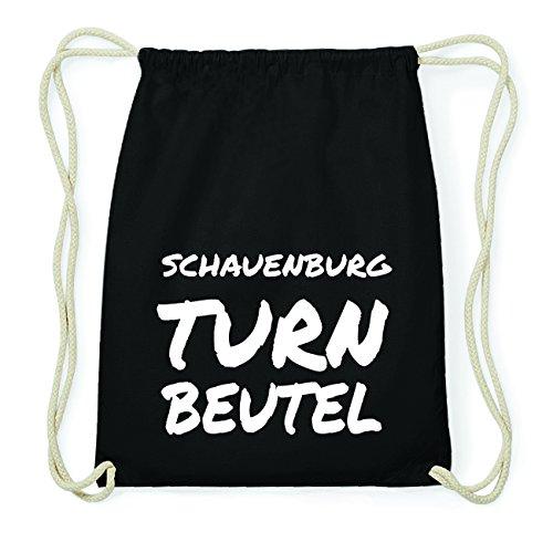 JOllify SCHAUENBURG Hipster Turnbeutel Tasche Rucksack aus Baumwolle - Farbe: schwarz Design: Turnbeutel