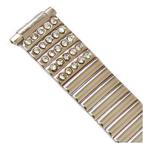Speidel 11mm to 14mm Ladies Silver Twist-O-Flex Expansion Watch Band Watch with Silver Rhinestones