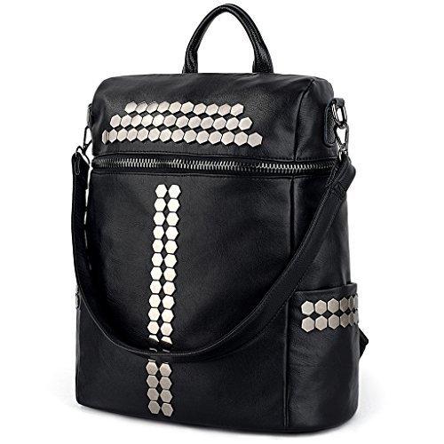 f20da3945cf4 UTO Women Backpack Purse 3 ways Rivet Studded PU Washed ...