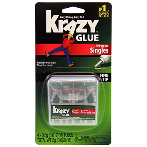 Elmer's Products KG582 Instant Crazy Glue 4-Single Use Tubes, 0.017-Ounce