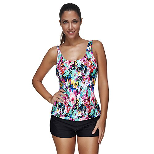Lover-Beauty Summer Floral Push Up Tankini With Panty Two Piece Tankini Set Size XL,Colored,US Size 12-14(XL) ()