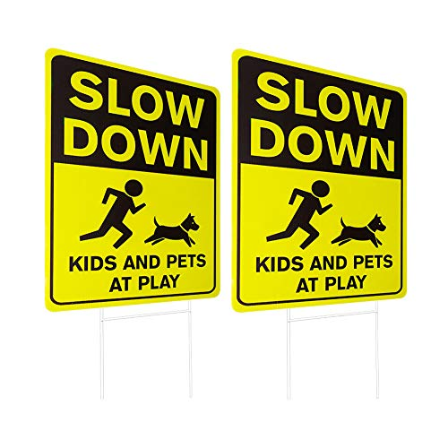 df6f339213ea0 WaaHome 2 Pack Double Side Slow Down Signs with Metal Wire H-Stakes,  12''X17'' Kids and Pets at Play Yard Sign