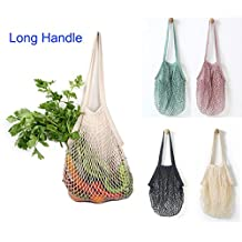 "Sysly Pack of 4 Cotton Reusable Net Shopping Tote String Bag Organizer for Grocery Shopping & Beach, Storage, Fruit, Vegetable and Toys -Lightweight & Sturdy Mesh Produce bag(15 x 14"", Natural/Long Handle) (Long Handle)"