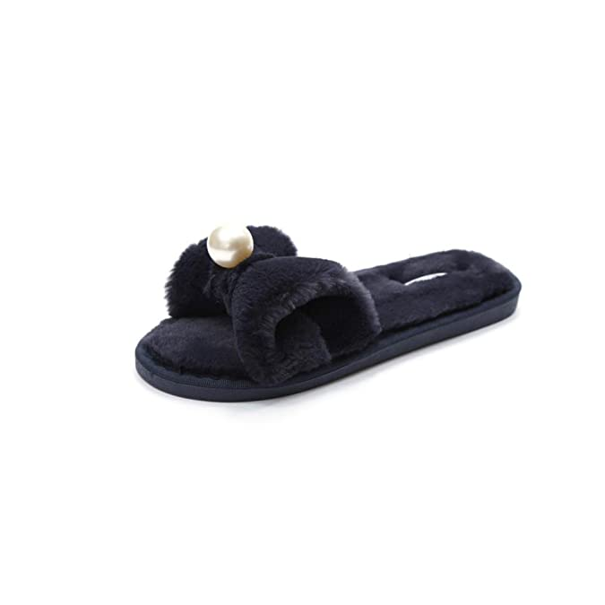 OverDose Damen Leicht Weich Slip on Sliders Flauschige Faux Pelz Flache Slipper Flip Flop Sandalen  Z-Black
