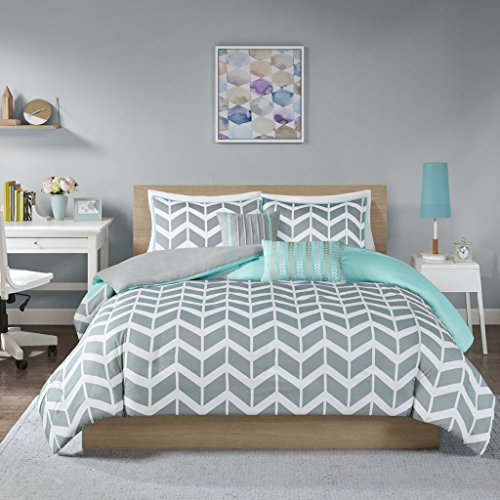 Intelligent Design ID12-229 Nadia Duvet Cover Set Full/Queen Teal (Grey Teal Bedding And)