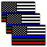 3 PAK Military Sticker, Police Decal American Flag Thin Blue Line Green and Red Stripe for Cars Trucks to Honor and Support Our Troops, Police, FIRE/EMT - 3 in one Sticker 5 inch - Back The Blue