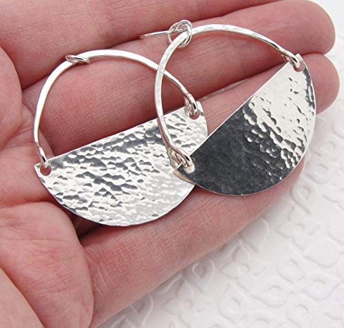 Large Sterling Silver Half Moon Hammered Earrings