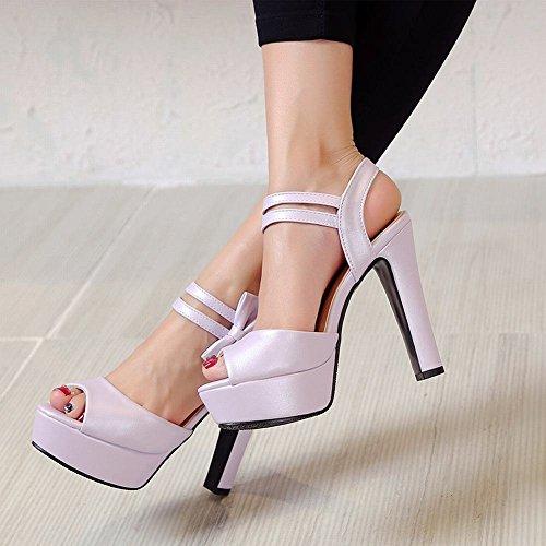 Mee Shoes Damen modern reizvoll Slingback Peep toe mit Schleife Klettband Sandalen mit hohen Absätzen Lila