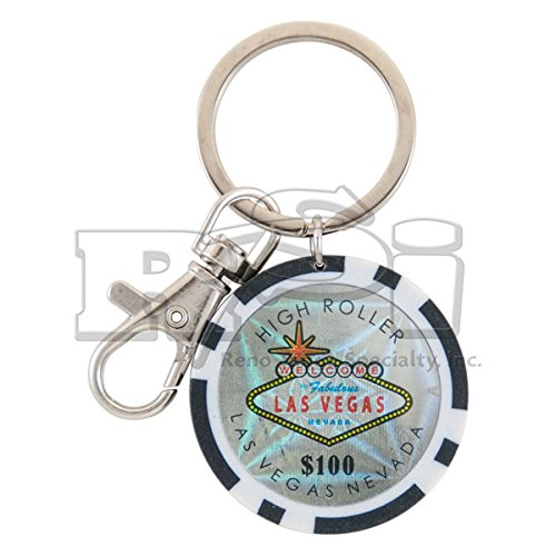 $100 LAS VEGAS POKER CHIP KEYCHAIN (BLACK) (1 Pack)