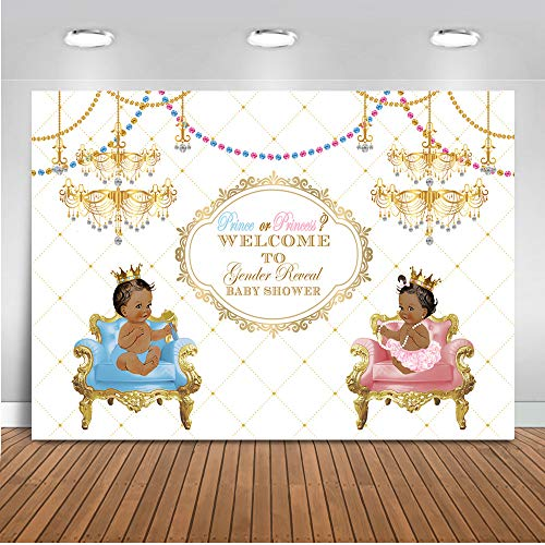 Mehofoto Gender Reveal Baby Shower Backdrop Prince or Princess Background 7x5ft Vinyl Blue or Pink Baby Shower Gender Reveal Party Banner Decoration -