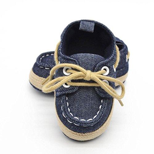Voberry® Newborn Baby Boys' Premium Soft Sole Infant Prewalker Toddler Sneaker Shoes (0~6 Month, Dark Blue) - Image 1