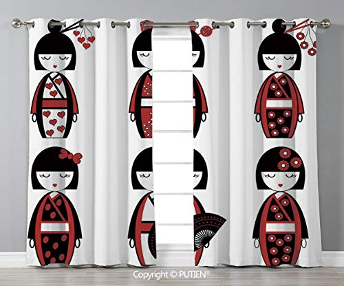 Grommet Blackout Window Curtains Drapes [ Girls,Unique Asian Geisha Dolls in Folkloric Costumes Outfits Hair Sticks Kimono Art Image,Black Red ] for Living Room Bedroom Dorm Room Classroom Kitchen Caf
