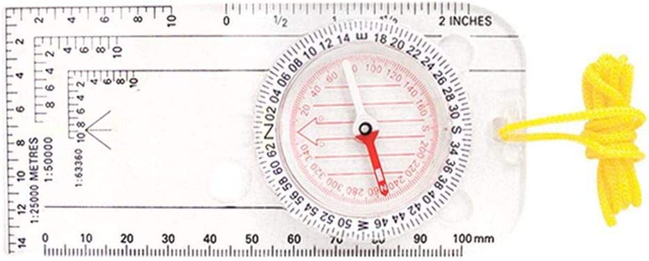 ELENXS DC40-3A ABS Portable Compass /Échelle R/ègle Boussole Camping en Plein air Carte Outils Transparent