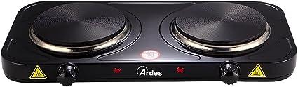 Ardes AR1F21 Hornillo TIKAPPA F21 Cocina EEléctrica en Acero Pintado 2 Placas de Diámetro 15,5 cm y 18,5 cm Ambas en Hierro Fundido, 2500 W, Negro