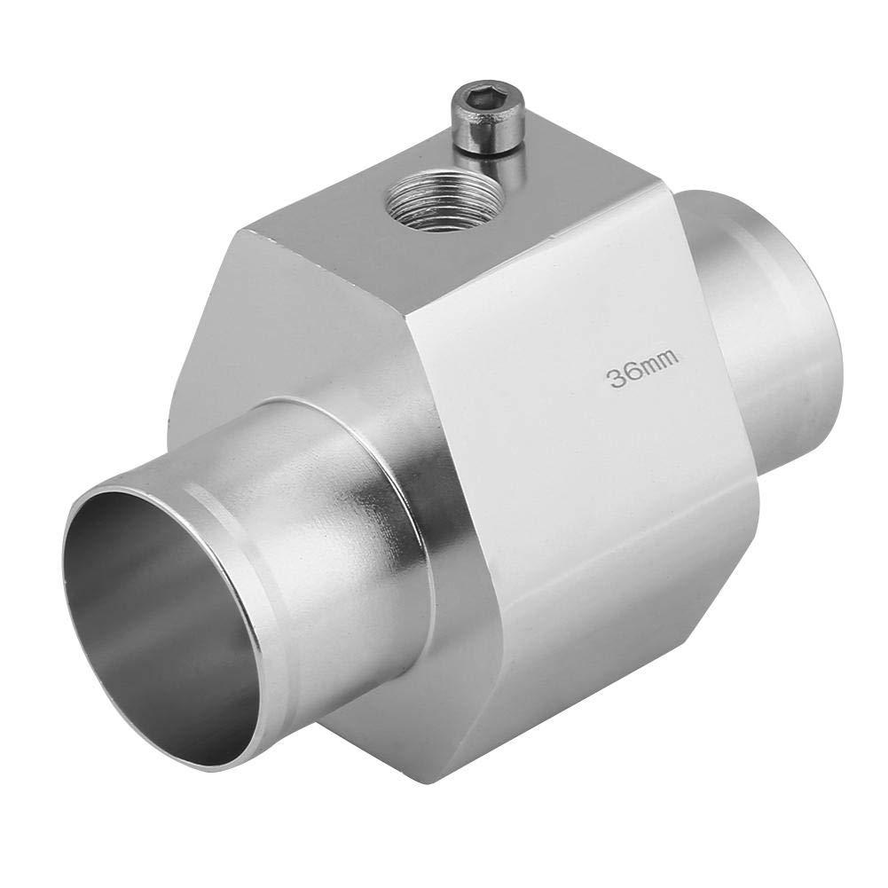 Water Temperature Temp Sensor Adapter Keenso Silver Water Temp Sensor Gauge Radiator Hose Adapter Aluminum Water Temp Joint Pipe Radiator Sensor w//Clamps 28mm
