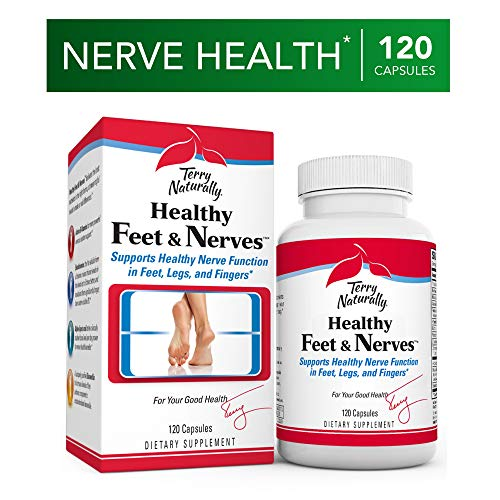 Terry Naturally Healthy Feet & Nerves - 120 Vegan Capsules - Nerve Function Support Supplement, Contains B Vitamins, Alpha-Lipoic Acid (ALA) & Boswellia - Non-GMO, Gluten-Free - 60 Servings