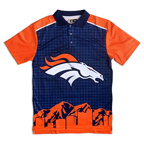 - Denver Broncos Polyester Short Sleeve Thematic Polo Shirt Extra Large