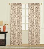 United Curtain Fiona Window Curtain Woven Pair of Printed Panel, 74 x 63, Taupe Review
