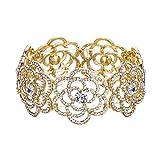 BriLove Women's Wedding Bridal Crystal Hollow Flower Tennis Stretch Bracelet Clear Gold-Toned