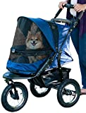 Pet Gear No-Zip Jogger Pet Stroller Cats/Dogs, Zipperless Entry, Easy One-Hand Fold, Air Tires, Cup Holder + Storage Basket