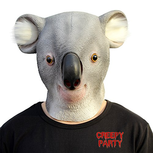 CreepyParty Deluxe Novelty Halloween Costume Party Latex Animal Head Mask Koala - Creepy Koala Costume