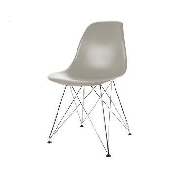 THE HOME DECO FACTORY Chaise Pied Chrome Lot DE 2 Metal PP Gris