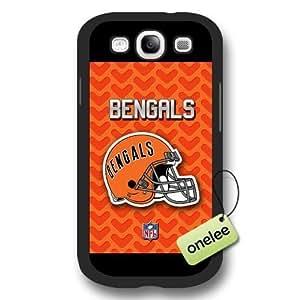 Personalize NFL Cincinnati Bengals Team Logo Frosted Black Samsung Galaxy S3(i9300) Case Cover - Black