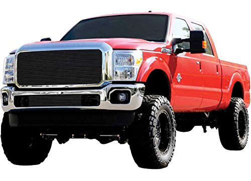 T-rex Vertical Upper Billet Grille - T-Rex Grilles 20546B Horizontal Aluminum Black Finish Billet Grille Insert for Ford Super Duty