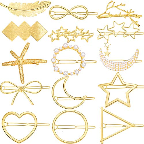 15 Pieces Minimalism Pearl Hair Clips Gold Dainty Feather Hollow Geometric Clasps Triangle Moon Circle Bow Hairpin Heart Star Hair Barrettes Multiple Style for Girl Women