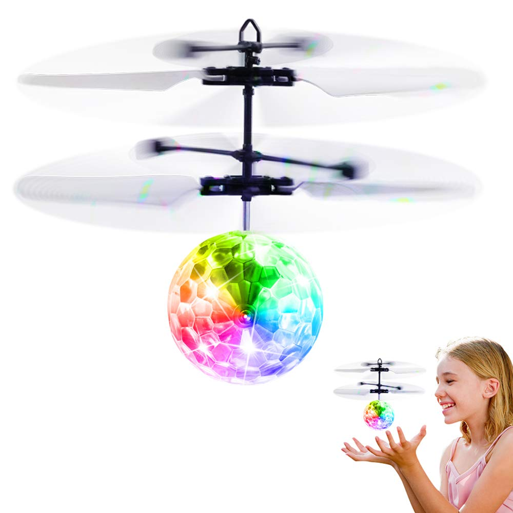 Betheaces Flying Ball Toys, Rc Toy für Kids Boys Girls Gifts Rechargeable Light nach oben Ball Drone Infrared Induction Helicopter mit Remote Controller für Indoor und Outdoor Games