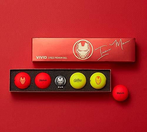 Volvik Vivid Marvel Golf Balls Iron Man 4-Ball Pack Red/Yellow