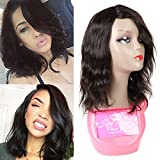 Brazilian Human Hair Wigs for Black Women Short Bob Loose Curly Wave Human Hair None Lace Front Wigs 12 Inch Wigs 130% Density Natural Color Natural Wave For Sale
