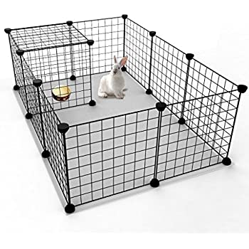 tespo pet playpen small animal cage indoor portable metal wire yard fence for small animals guinea pigs rabbits kennel crate fence tent black 12 panels