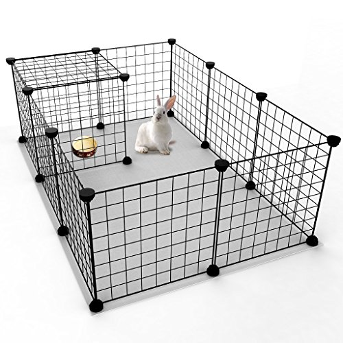 Tespo Pet Playpen, Small Animal Cage Indoor Portable Metal Wire Yard Fence for Small Animals, guinea pigs, rabbits Kennel Crate Fence Tent, Black 12 Panels (Cages Rabbit)