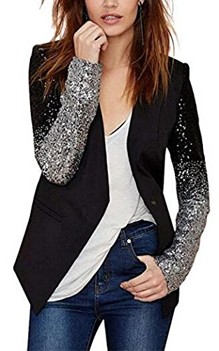 Enlishop Women Formal Sequin Leather Blazer Jacket Cardigan Trench Coat Business Suit M Black by Enlishop (Image #1)