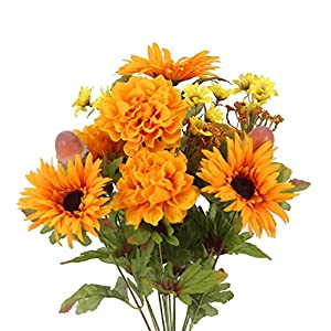 Admired By Nature GPB6434-TANGERINE 4 Piece 14 Stems Home Office/Wedding/Restaurant Decoration Arrangement Artificial Gerbera Daisy/Marigold/Acorn Mixed Flowers Bush, Gold/Orange 4