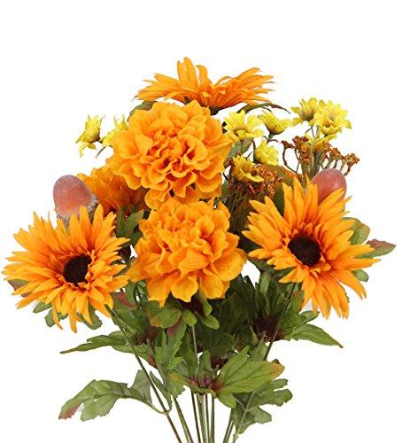 Admired By Nature GPB6434-TANGERINE 4 Piece 14 Stems Home Office/Wedding/Restaurant Decoration Arrangement Artificial Gerbera Daisy/Marigold/Acorn Mixed Flowers Bush, Gold/Orange -