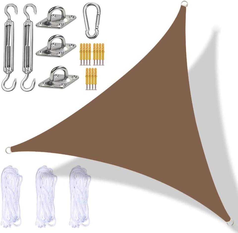 Jardín de Vela Dosel, Sombra triángulo toldo con Heavy Duty Kit de fijación, de 3 Cuerdas, Impermeable, Anti-UV, al Aire Libre Parasoles Velas de Sombra Toldos de Balcón,Marrón,2.4 x 2.4 x 2.4m