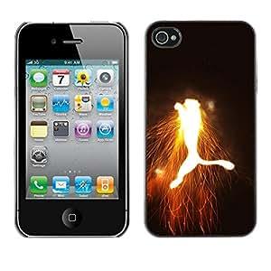 Be Good Phone Accessory // Dura Cáscara cubierta Protectora Caso Carcasa Funda de Protección para Apple Iphone 4 / 4S // Jumping Flaming Puma