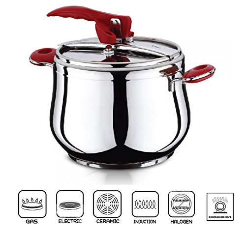 ESILA Stainless Steel Stovetop Pressure Cooker Stockpot Induction Base 5/7 Litre (5 Litre)