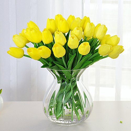 Artificial Tulips, Meiwo 10 Pcs Nearly Natural Artificial Tulips Flowers For Wedding Bouquets / Home Decor / Party / Graves Arrangement(Yellow) (Vases Bedroom)