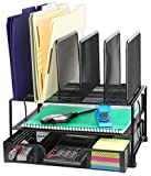 SimpleHouseware Mesh Desk Organizer with Sliding Drawer, Double Tray and 5 Upright Sections, Black: more info