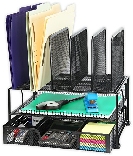 SimpleHouseware Mesh Desk Organizer with Sliding Drawer, Double Tray and 5 Upright Sections, Black - Mesh Table Top
